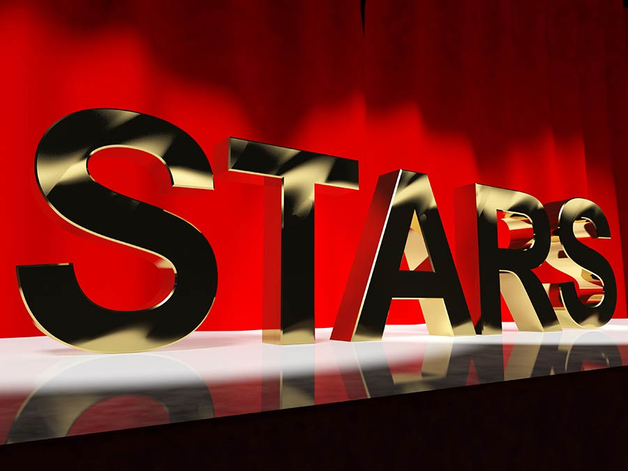 the word Stars on a stage